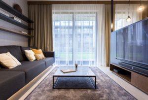 salon z kanapą, stolikiem i telewizorem